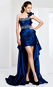 One Shoulder Taffeta Cocktail Dress With Sweep/Brush Train