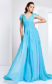 V-neck Chiffon Evening Dress With Sweep/Brush Train Inspired By Cobie Smulders At The Emmys