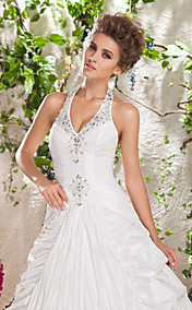 Ball Gown Halter Court Train Taffeta Wedding Dress