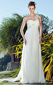 Sheath/ Column One Shoulder Sweetheart Sweep / Brush Train Chiffon Wedding Dress