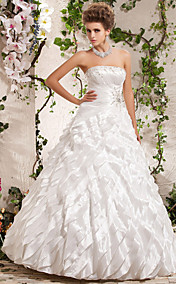 Ball Gown Princess Strapless Floor-length Taffeta Wedding Dress