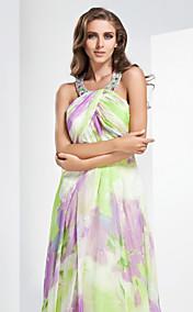 Sheath/Column Jewel Floor-length Chiffon Evennig Dress