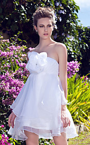 A-line Strapless Short/Mini Organza Wedding Dress