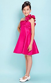 A-line One Shoulder Short/Mini Taffeta Junior Bridesmaid Dress