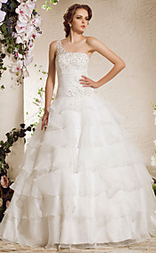 Ball Gown One Shoulder Court Train Organza Weeding Dress