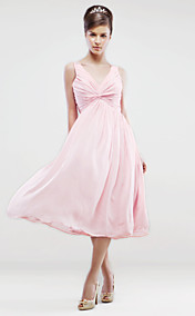A-line V-neck Knee-length Chiffon Bridesmaid/ Wedding Party Dress With Side-draping