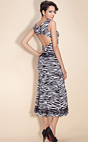 TS Animal Print Lace Decor Stretchy Midi Dress