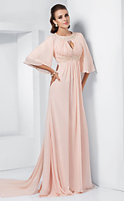 A-line Jewel Sweep/Brush Train Chiffon Evening/Prom Dress inspired by Melissa McCarthy at the 84th Oscar