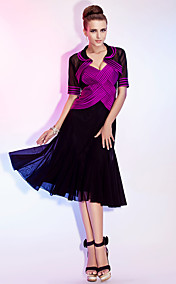 A-line Spaghetti Straps Tea-length Stretch Satin And Tulle Cocktail Dress With A Wrap