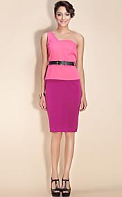 TS One-Shoulder Belted Pencil Dress
