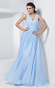 A-line V-neck Floor-length Chiffon Evening/Prom Dress With Criss Cross Bodice