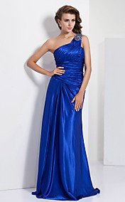 Sheath/ Column One Shoulder Floor-length Charmeuse Evening/Prom Dress
