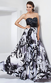 A-line Sweetheart Strapless Floor-length Stretch Satin Evening Dress