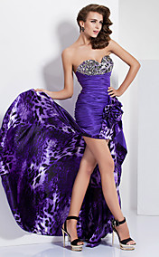 A-line Sweetheart Asymmetrical Taffeta And Charmeuse Evening/Prom Dress