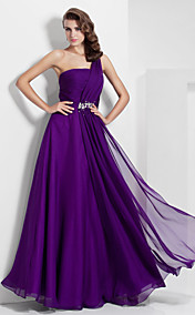 A-line One Shoulder Floor-length Chiffon Evening Dress