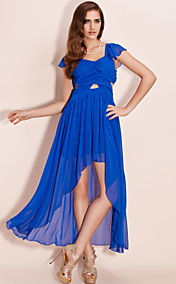TS Open-waist Asymmetric Hem Chiffon Maxi Tail Dress