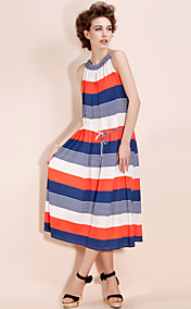 TS Drawstring Striped MidiDress