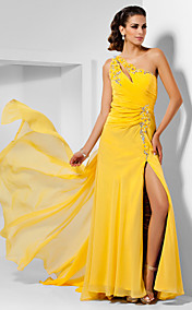Sheath/Column One Shoulder Asymmetrical Chiffon Evening Dress