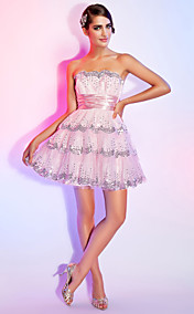 A-line Scalloped Short/Mini Tulle Sequined Cocktail Dress With Ribbon