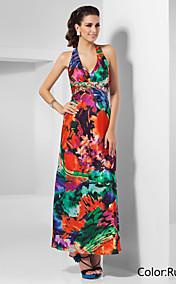Sheath/Column Halter Ankle-length Pattern/Print Satin Evening Dress