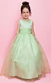 Ball Gown Jewel Floor-length Organza Over Satin Flower Girl Dress