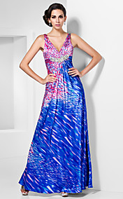 Sheath/Column V-neck Floor-length Satin Dress With Crystal Detailing