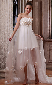 A-line Strapless  Asymmetrical Tulle Satin Wedding Dress