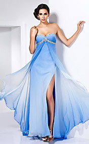 Sheath/Column Sweetheart Floor-length Chiffon Dress With Split Front