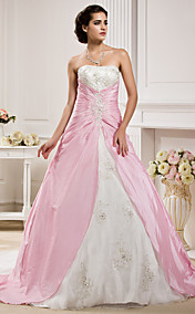 Ball Gown Strapless  Chapel Train Taffeta  Wedding Dress