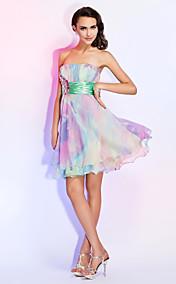 A-line Strapless Short/Mini Chiffon Dress