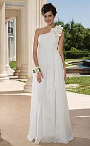 Sheath/ Column One Shoulder Floor-length Chiffon Wedding Dress