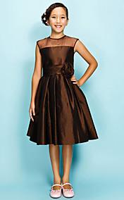 A-line Jewel Knee-length Organza Over Taffeta Junior Bridesmaid Dress
