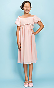 Sheath/Column Square Tea-length Chiffon Junior Bridesmaid Dress