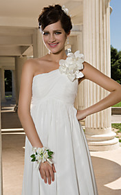 Sheath/Column One Shoulder Floor-length Chiffon Wedding Dress