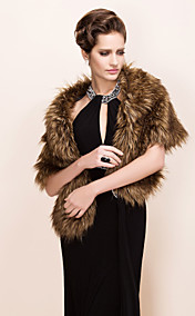 Elegant Long-Haired Faux Fox Fur Party / Evening Shawl / Wrap