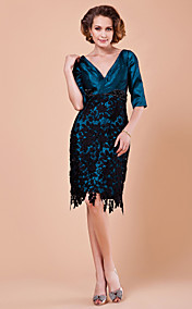 Sheath/Column V-neck Half Sleeve Knee-length Polyester Mother of the Bride Dress