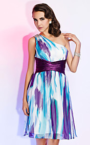 Sheath/Column One Shoulder Knee-length Chiffon Print Dress