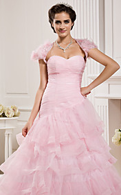 Ball Gown Sweetheart  Floor-length Organza  Wedding Dress With A Wrap
