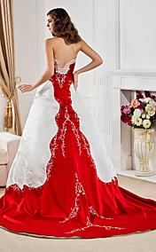 A-line Sweetheart Court Train Satin Embroidery Wedding Dress