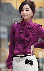 Women's Stand Neck Silk Blouse Shirt