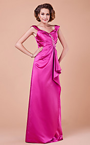 Sheath/Column V-neck Floor-length Satin Mother Of The Bride Dress