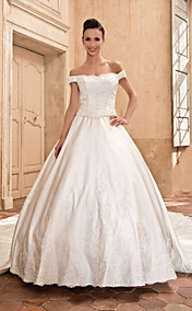Ball Gown Scalloped-Edge Capped Cathedral Train Satin Wedding Dress