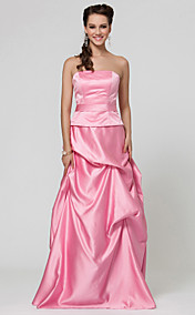A-line Floor-length Taffeta Bridesmaid Dress With Pick Up Skirt