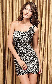 Leopard Dimensional Fold Dress(Bust:86-102Waist:58-79Hips:90-104Length:70CM)