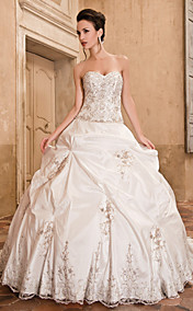 Ball Gown Sweetheart Chapel Train Taffeta Wedding Dress