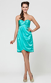 A-line Sweetheart Short/Mini Satin Bridesmaid Dress