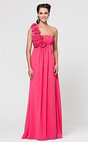 Sheath/Column One Shoulder Floor-length Chiffon Bridesmaid Dress With Flower(s)