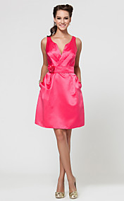 A-line V-neck Short/Mini Satin Bridesmaid Dress