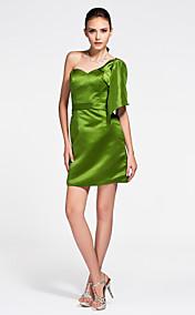 Sheath/ Column Sweetheart Short/ Mini Satin Bridesmaid Dress