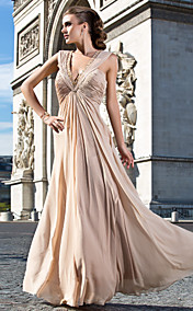 Sheath/Column V-neck Floor-length Chiffon Evening Dress With Beading And Ruching